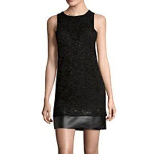 NWT Lace & Leather Sheath Dress Size XS